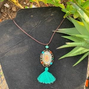 Jewelry - Colorful teal Tassel victorian style necklace